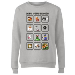 Nintendo Super Mario Know Your Enemies Women's Sweatshirt - Grey