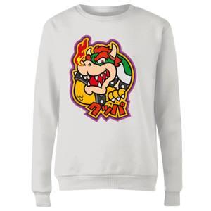 Nintendo Super Mario Bowser Kanji Women's Sweatshirt - White