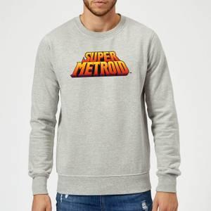 Nintendo Super Metroid Retro Logo Colour Sweatshirt - Grey