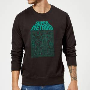 Felpa Nintendo Super Metroid Power Suit Blueprint - Nero