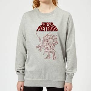 Nintendo Super Metroid Ridley And Samus Women's Sweatshirt - Grey