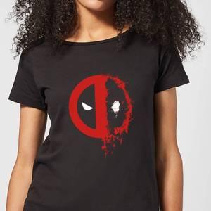 Marvel Deadpool Split Splat Logo Women's T-Shirt - Black