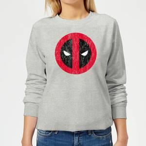 Sweat Femme Deadpool (Marvel) Logo Craqué - Gris