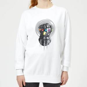 Marvel Avengers Infinity War Thanos Infinite Power Fist Women's Sweatshirt - White