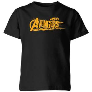 Marvel Avengers Infinity War Orange Logo Kinder T-Shirt - Schwarz
