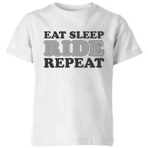 Eat Sleep Ride Repeat Kids' T-Shirt - White