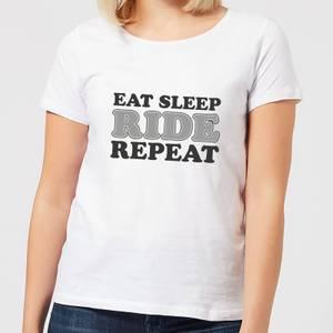Eat Sleep Ride Repeat Women's T-Shirt - White