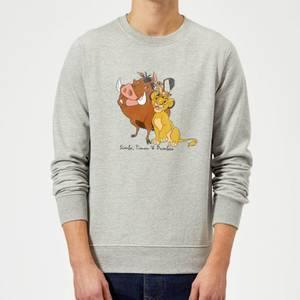 Felpa Disney Re Leone Simba Pumbaa Timon Classic - Grigio