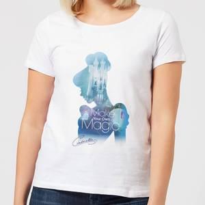Disney Prinzessin Ausgefüllte Silhouette Cinderella Damen T-Shirt - Weiß