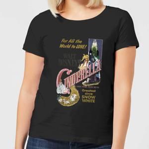 Disney Princess Cinderella Retro Poster Women's T-Shirt - Black