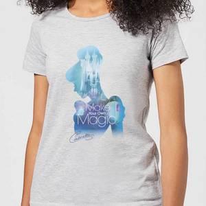 Disney Prinzessin Ausgefüllte Silhouette Cinderella Damen T-Shirt - Grau
