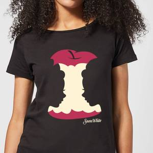 Disney Princess Colour Silhouette Snow White Apple Women's T-Shirt - Black
