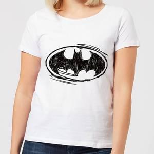 DC Comics Batman Sketch Logo Women's T-Shirt in White