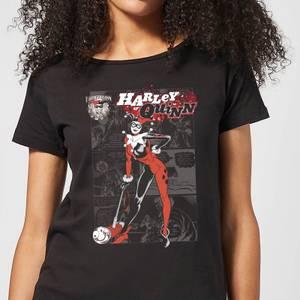 DC Comics Batman Harley Quinn Comic Page Dames T-shirt - Zwart