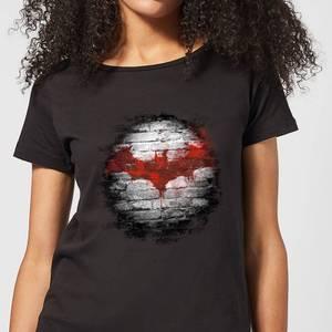 T-Shirt Femme Batman DC Comics - Logo sur le Mur - Noir