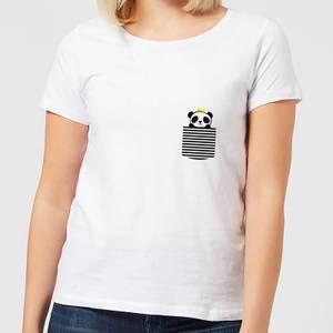 Stripey Panda Pocket Women's T-Shirt - White