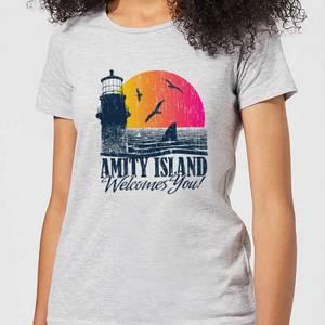 Der Weiße Hai Welcome To Amity Island Damen T-Shirt - Grau
