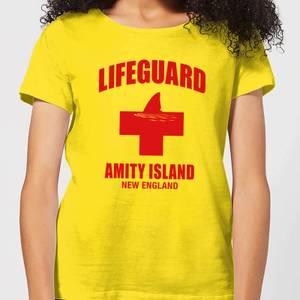 Camiseta Tiburón Lifeguard Amity Island - Mujer - Amarillo