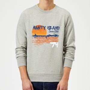 Sweat Homme Les Dents de la mer - Club de Natation Amity - Gris