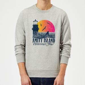 Jaws Welcome To Amity Island Sweatshirt - Grey
