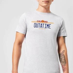 T-Shirt Homme Retour vers le Futur - Plaque Immatriculation Outatime - Gris