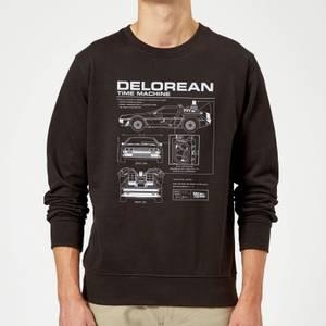 Zurück In Die Zukunft Delorean Schematic Pullover - Schwarz