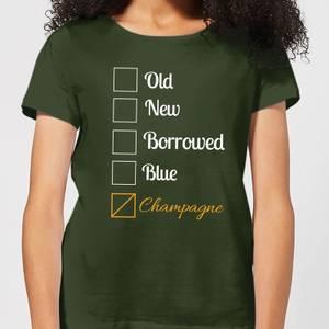 Champagne Tick Box Women's T-Shirt - Forest Green