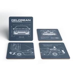 Back To The Future Delorean Schematic Onderzetters (Set van 4)