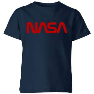 NASA Worm Red Logotype Kids' T-Shirt - Navy