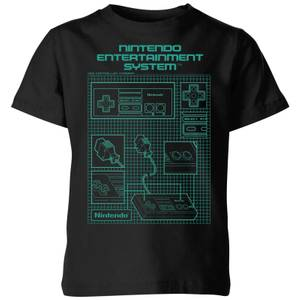 Nintendo NES Controller Blueprint Kid's T-Shirt - Black