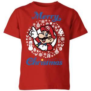Nintendo Mario Merry Christmas Kinder T-Shirt - Rot