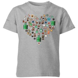 Nintendo Super Mario Pixel Sprites Heart Kid's T-Shirt - Grey