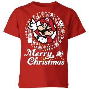 Nintendo Super Mario Merry Christmas White Wreath Kid's T-Shirt - Red