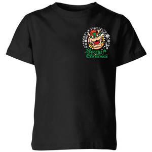 Nintendo Super Mario Bowser Merry Christmas Pocket Wreath Kid's Christmas T-Shirt - Black