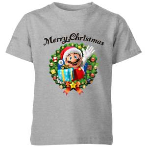 Nintendo Super Mario Merry Christmas Hat Present Kid's T-Shirt - Grey