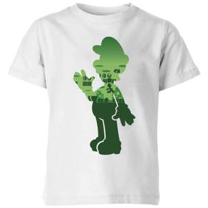 Nintendo Super Mario Luigi Silhouette Kinder T-shirt - Wit