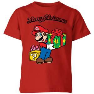 Nintendo Super Mario Merry Christmas Present Kinder T-Shirt - Rot