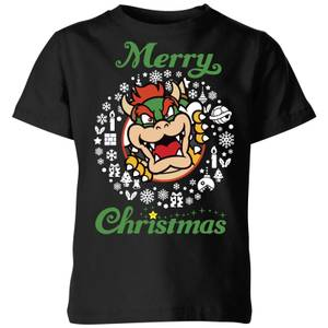 Nintendo Super Mario Bowser Merry Christmas Kid's T-Shirt - Black