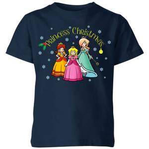 T-Shirt de Noël Enfant Princesse Noël - Super Mario Nintendo - Bleu Marine
