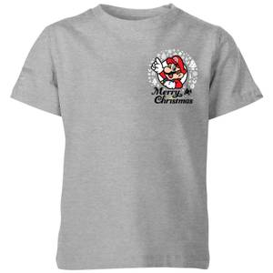 Nintendo Super Mario Mario Merry Christmas Pocket Wreath Kid's T-Shirt - Grey