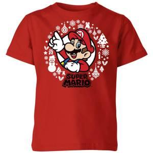 Nintendo Super Mario White Wreath Kid's Christmas T-Shirt - Red