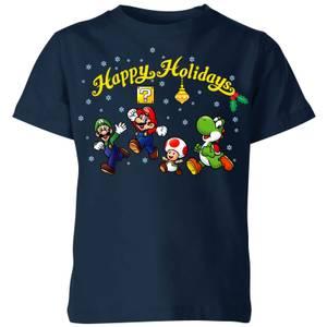 Camiseta Navidad Nintendo Super Mario Los buenos Happy Holidays - Niño - Azul marino