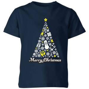 Nintendo Super Mario White Christmas Merry Christmas Kid's T-Shirt - Navy