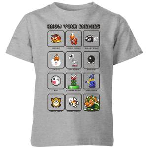 Camiseta Nintendo Super Mario Know Your Enemies - Niño - Gris