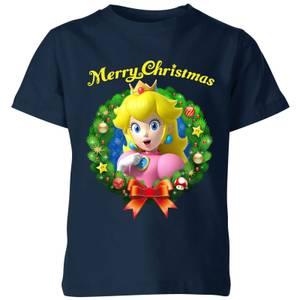 T-Shirt de Noël Enfant Peach Joyeux Noël - Super Mario Nintendo - Bleu Marine