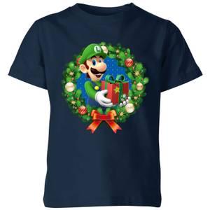 T-Shirt Nintendo Super Mario Luigi Present - Blu Navy - Bambini