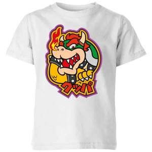 Nintendo Super Mario Bowser Kanji Kid's T-Shirt - White