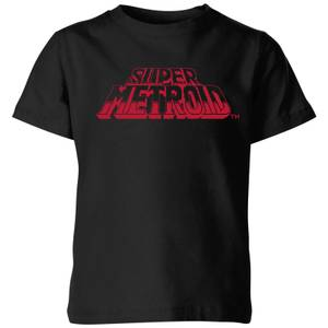 T-Shirt Nintendo Super Metroid Retro Logo - Nero - Bambini