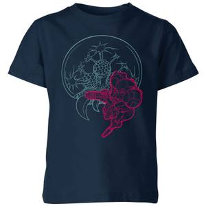 T-Shirt Enfant Super Samus And Mother Brain - Metroid Nintendo - Bleu Marine