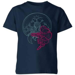 T-Shirt Nintendo Super Metroid Samus And Mother Brain - Blu Navy - Bambini